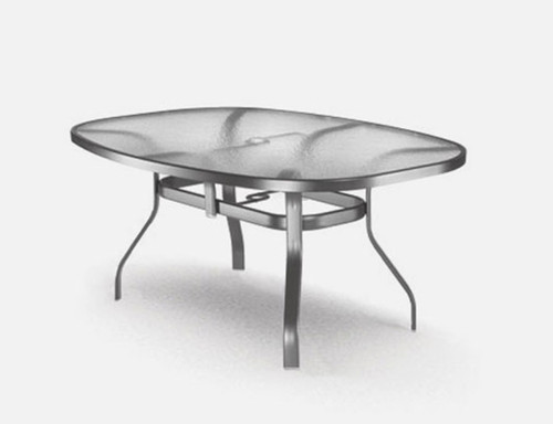 Homecrest 43 x 78 inch glass table: Shown with the Aquatex texture glass and aluminum base in the Strom gray  finish.