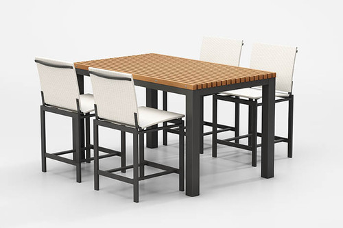 Homecrest Allure Sling Patio Dining Set with Eden Table: As shown with Carbon gray aluminum frame finish, Glacier sling fabric and Cedar table top.