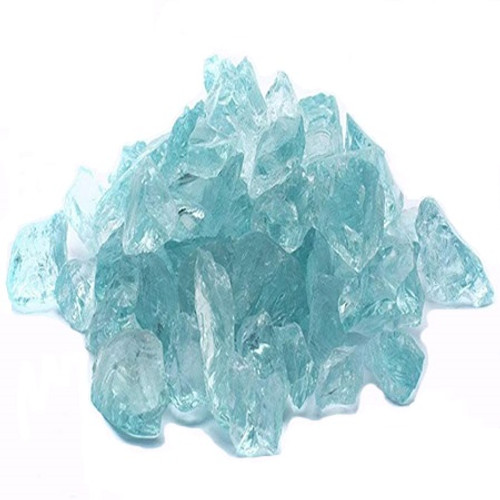 "Elements Fire Glass: As Shown in Teal 1 - 1/2 "" Chips made for outdoor Fire Pits or indoor Fireplaces"