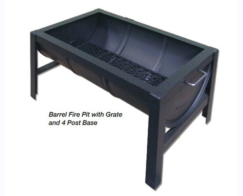 Barrel Wood Burning Fire Pit: As shown four post base and drainage grate in black matte finish.