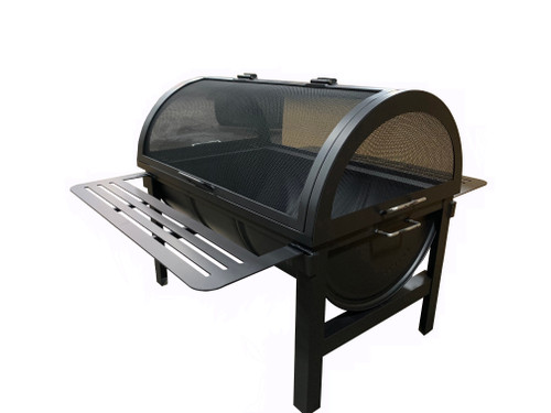 Barrel Wood Burning Fire Pit: As shown four post base and drainage grate, drink rails and barrel hinged fire pit screen in the black matte finish.