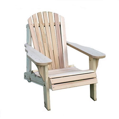 Creek Vine Design Cedar Adirondack Chair: As shown in the raw Western Red Cedar sanded rounded edges.