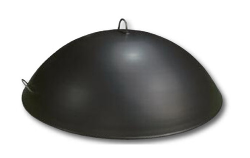 Dome Fire Pit Snuffer Cover: As shown with two welded stainless handles and dome in a 14 gauge carbon steel black matte finish.