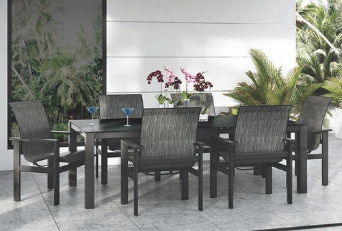 Homecrest Mode Aluminum Outdoor Dining Table Set: As shown Mode table and Elements Low Back Sling chairs in the onyx black powder coated finish.