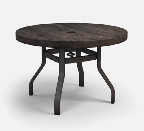 Homecrest Natural Series Round Timber Table: As shown in the 42 inch diameter with the Cast Sequoia wood top and the Carbon aluminum base.
