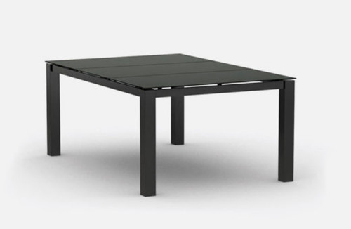 Homecrest Mode Outdoor Dining Table: Table shown in the 66 inch length aluminum Onyx black powder coated finish.