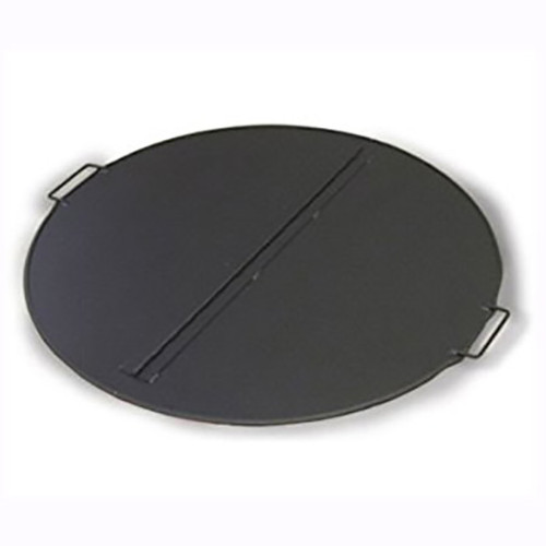 Folding stainless steel fire pit snuffer cover: As shown top finish black matte weather and heat resistant finish and welded stainless steel handles.