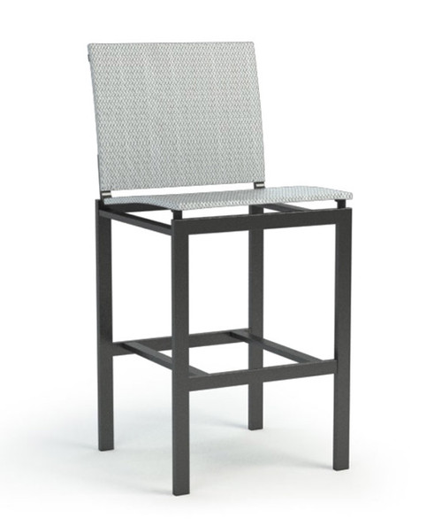 Homecrest Allure Aluminum Armless Sling Bar Stool: Bar stool shown with the Cabon grey powder coated frame and the Cameo sling fabric.