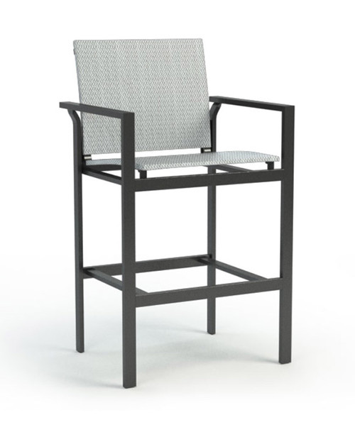 Homecrest Allure Aluminum Outdoor Arm Bar Stool : Stool shown with the Carbon gray powder coated frame and the Cameo sling fabric seat and back.