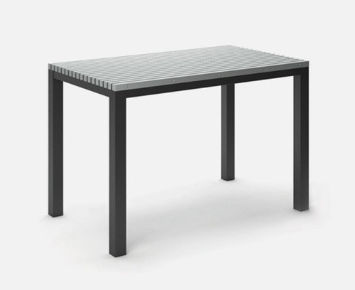 "Rectangular Eden Homecrest Bar Table: As shown 60"" length table with  the Carbon gray aluminum base and HDPE Light Gray table top."