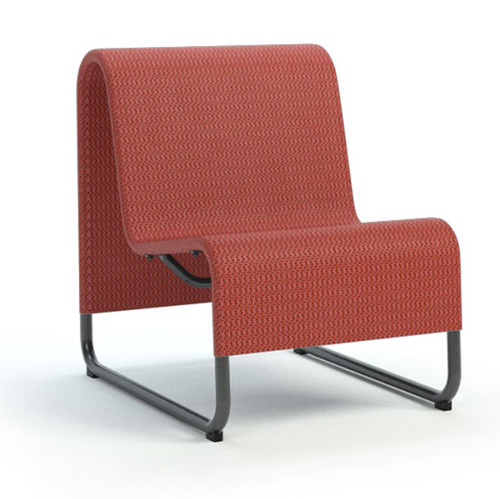 Homecrest Infiniti Armless Chat Chair: As shown with carbon aluminum frame and red poppy Sensation Sling Fabric.