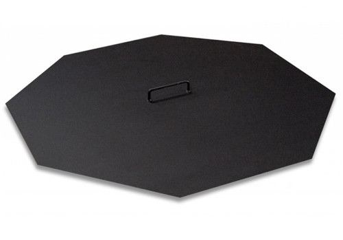 Octagonal Fire Pit Snuffer Lid: As shown in the heat resistant black matte finish in a 18 gauged metal solid metal plate.