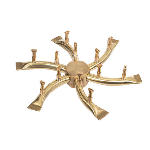The Outdoor Plus Triple S Brass Bullet Tip Burner: As shown fire pit burner 8 inch round diameter.