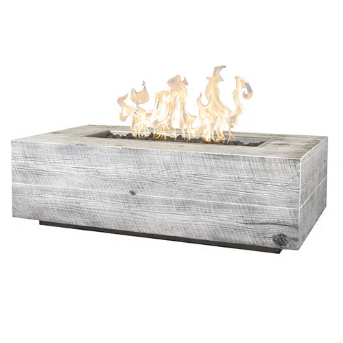 The Outdoor Plus Coronado GFRC Wood Grain Fire Pit: As shown in the Ivory natural wood grain finish natural gas match lit with glass surround.