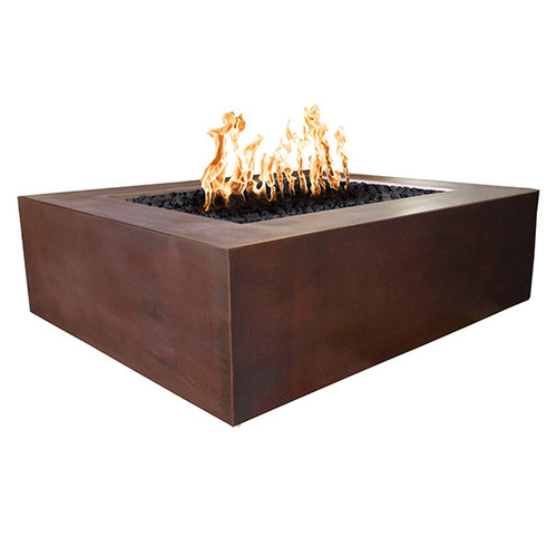 The Outdoor Plus Quad Hammered Copper Gas Fire Pit: As shown with the hammered copper patina and black lava rock media.