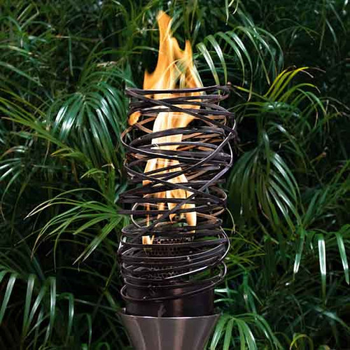 The Outdoor Plus Tangled Gas Fire Torch-  As shown tangled basket out of a black corten steel and stainless steel torch base.