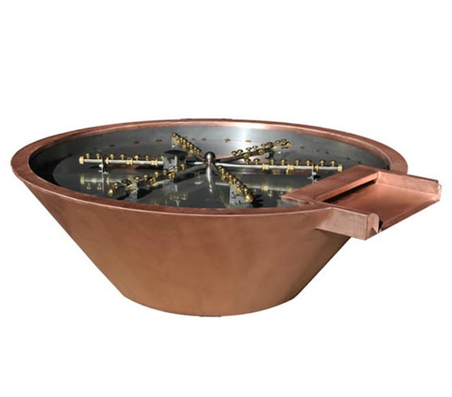 Bobe Builder Series Water And Fire Copper Round Water/Fire Pot: As shown water/fire pot in smooth copper with the Perfect Flame Burner