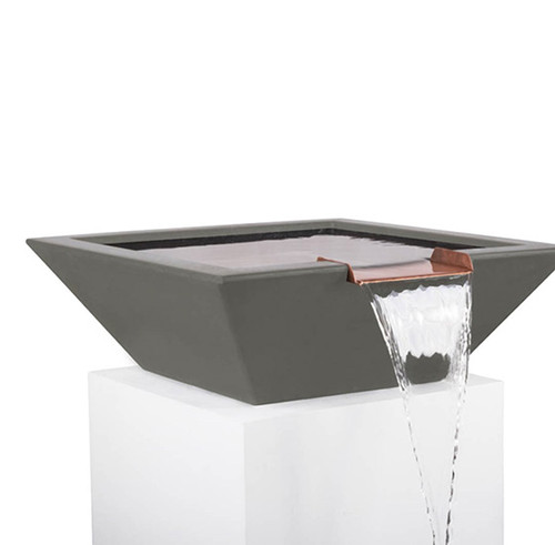GFRC Concrete Maya Water Fire Bowl: As shown Ash concrete finish with copper spillway scupper.