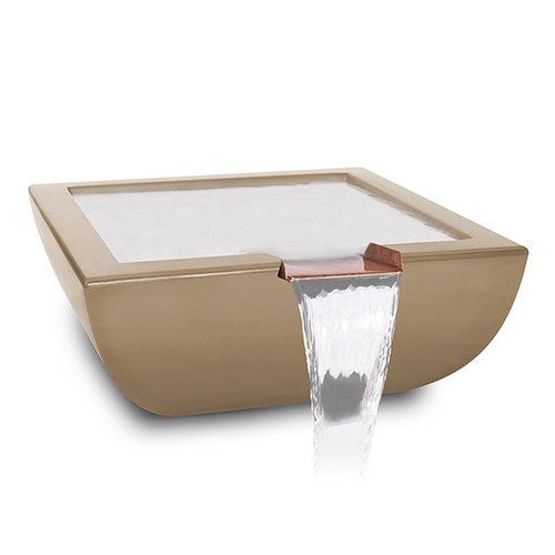 The Outdoor Plus Avalon Concrete Concrete Water Bowl: As shown 8 inch copper spillway in a GFRC concrete in the brown finish.