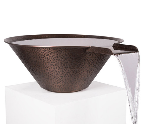 The Outdoor Plus Copper Cazo Water Bowl: As shown hammered copper finish.