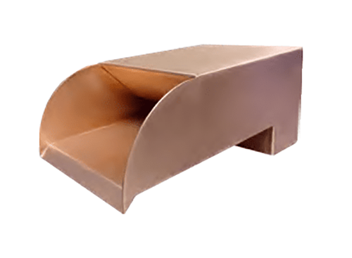 Bobe Copper Smooth Flow Radius Water Scupper- As shown smooth polished copper finish.