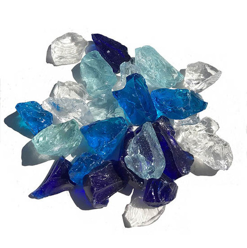 Bahama Blend Tempered Fire Pit Glass: As shown a specialty blend of  turquoise,  royal blue and crystal clear.