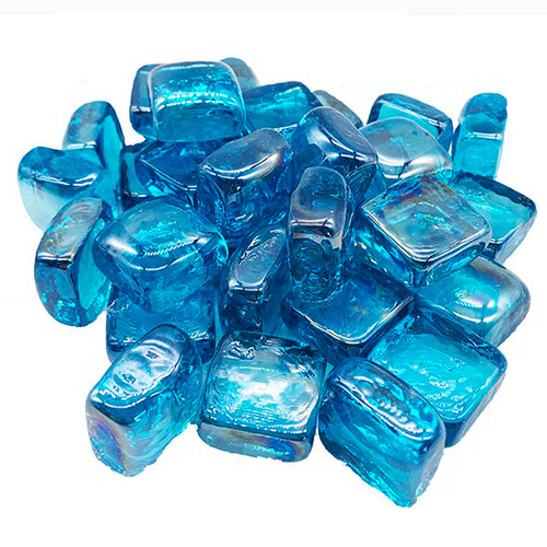 Elements 1 inch Turquoise Cubed Fire Pit Fireplace Glass: Turquoise infused colored tempered fire glass, cubed shaped.
