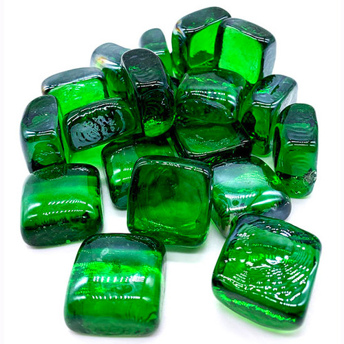 "Elements 1 Inch Cubed Green Fire Pit / Fireplace Glass: As shown tempered 1"" green infused cubed fire glass."
