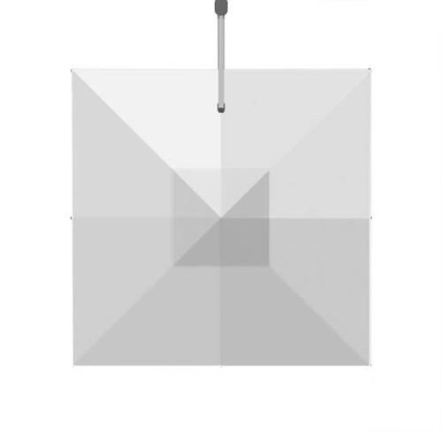 Homecrest Soren Square Cantilever Umbrella: As shown with the canvas white Sunbrella fabric.