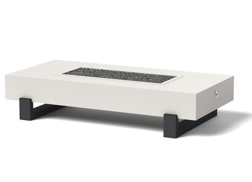 Ore Strut Gas Fire Table: As shown with the charcoal powder coat aluminum gray strut base and satin white body