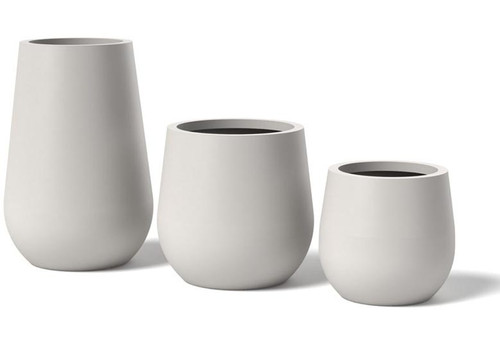 Vase Planter: A shown in the Small, Medium and Large size option in Powder Coated Aluminum Satin White Finish.
