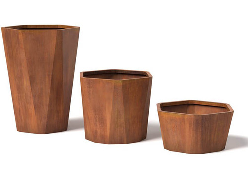 Ore Facet Custom Corten Steel Planters: As shown Planters in the Small, Medium and Large Sizes in the corten steel natural rust finish.