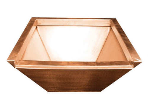 Bobe Seamless Lip Water Bowl Square: As shown product photo in the smooth copper finish.