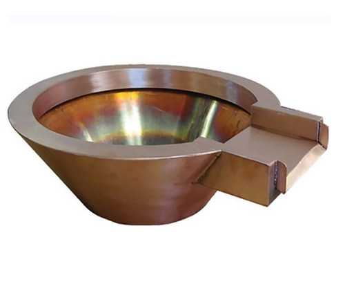 Bobe Round Copper Water Po Pot Bowl: As shown withe the Original Lip option in the smooth copper finish.