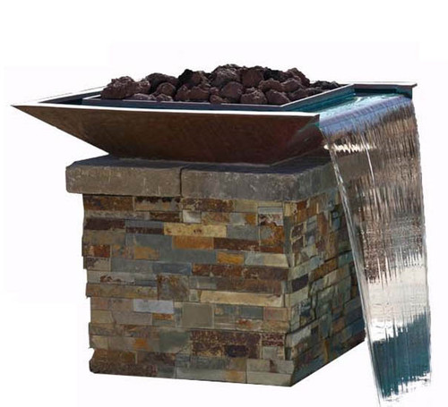 Bobe Square Seamless Lip Water and Fire Bowl: As shown the bobe fire water pot in smooth copper finish with large black lava rock media.