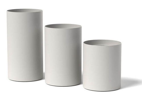 Silo Marine Grade Aluminum Planter: As shown Tall round planter in the Large, Medium and Small in the Stain White Finish.