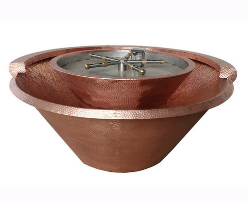 Bobe Artisan Series Round Seamless Lip Fire and Water Bowl: Shown with the hammered copper finish.