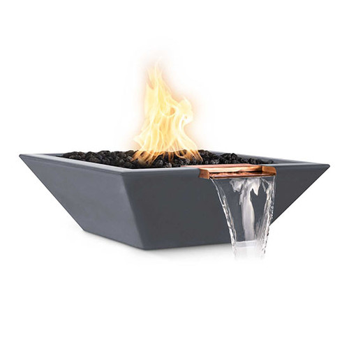 The Outdoor Plus Fire and Water Bowl: As shown with the copper spillway in the GFRC gray concrete finish.