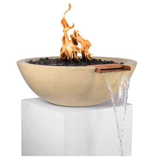 Sedona Fire & Water Bowl by the Outdoor Plus: As shown with the copper scupper and concrete vanilla finish.