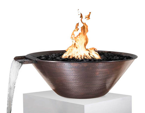 The Outdoor Plus Remi Copper Fire and Water Bowl: Fire feature shown with the Hammered Copper finish and Black Lava Rocks.