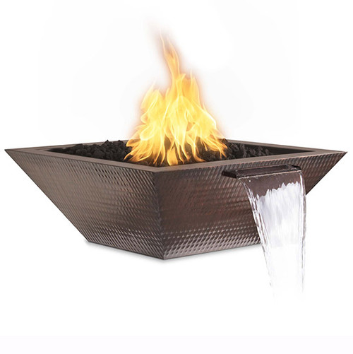 The Out Door Plus Maya Hammered Copper Fire and Water Bowl:  As shown black lave media and the hammered copper finish with the Smart Weather Electronic Ignition System.
