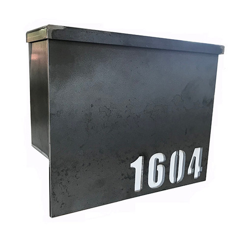 The Doughty Steel Mailbox: As shown raw steel pre-rust construction with laser cut house numbers.