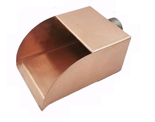 """Bobe Water and Fire Radius Scupper: As shown 6"""" Scupper in the polished smooth copper finish"""