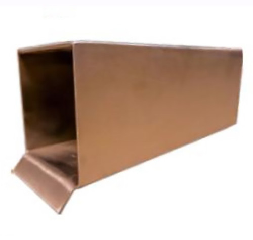 Bobe Box Scupper: As shown 6 inch scupper in the smooth copper finish.