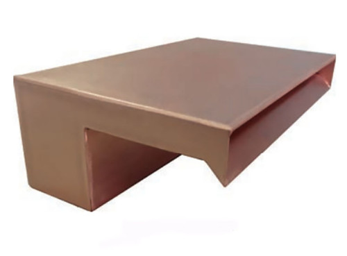 Bobe Water and Fire Smooth Flow Scupper:  Picture shown 12 inch SMOOTH FLOW SCUPPER in the polished copper finish.