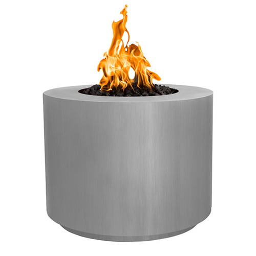 The Outdoor Plus Beverly Round Fire Pit: Fire pit shown in the Stainless Steel finish with black lava rocks.