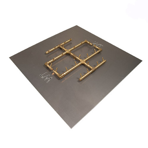 "CFB240 Warming Trends Crossfire Brass Burner: As shown 240k BTU brass burner and the 30"" square aluminum plate."