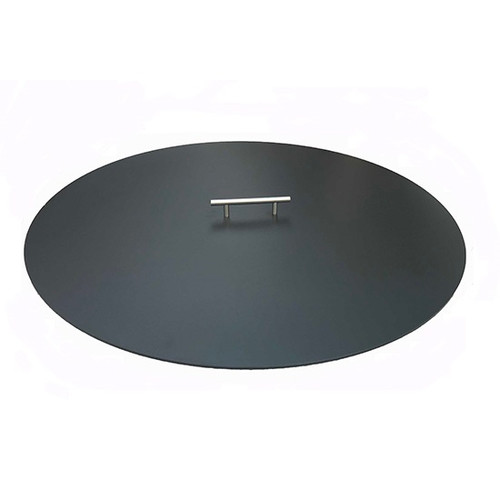 Aluminum Fire Pit Cover Round: As shown in the 3/16 inch thick aluminum powder coated black with one stainless steel handle.