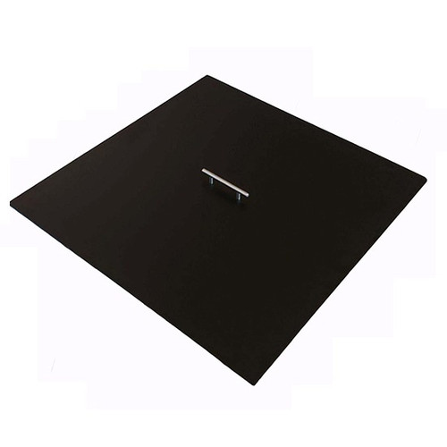 Yard Couture Square Aluminum Fire Pit Cover: Powder coated black with stainless steel handle.