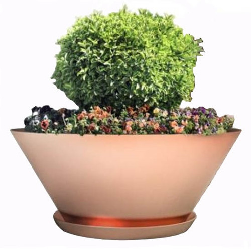 Bobe Artisan Round Copper Planter: As shown round smooth copper finish with the optional drip tray.